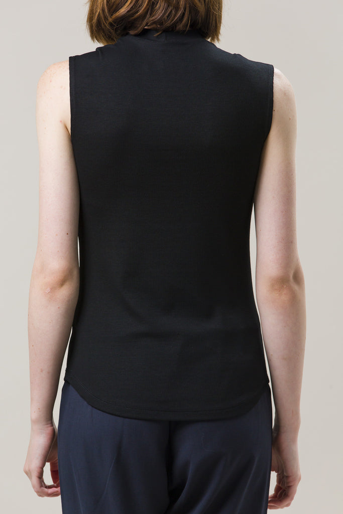 Mock Neck Muscle Tee, Black by Nomia @ Kick Pleat - 6