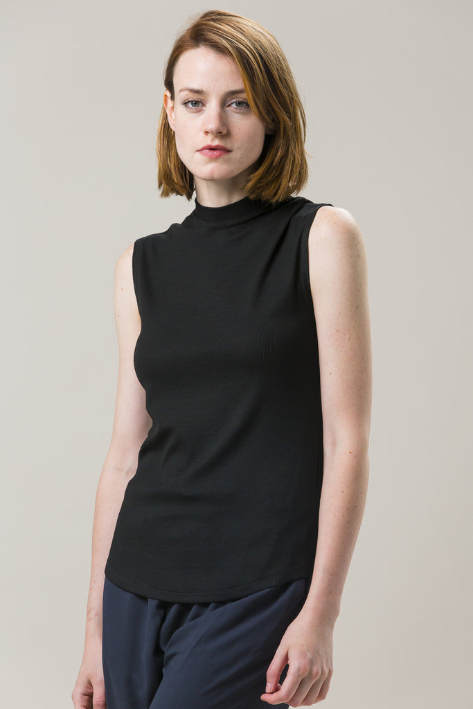 Mock Neck Muscle Tee, Black