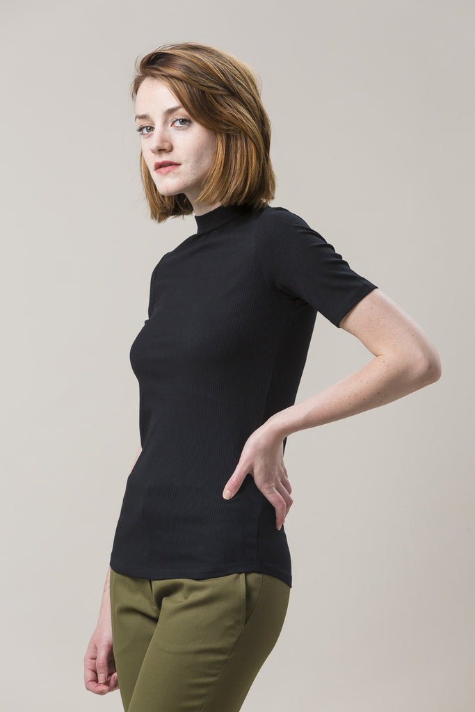 Cropped Mock Neck Tee, Black
