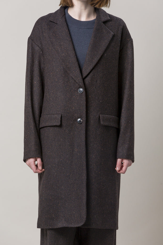 Long Oversized Coat, Brown by Dusan @ Kick Pleat - 3