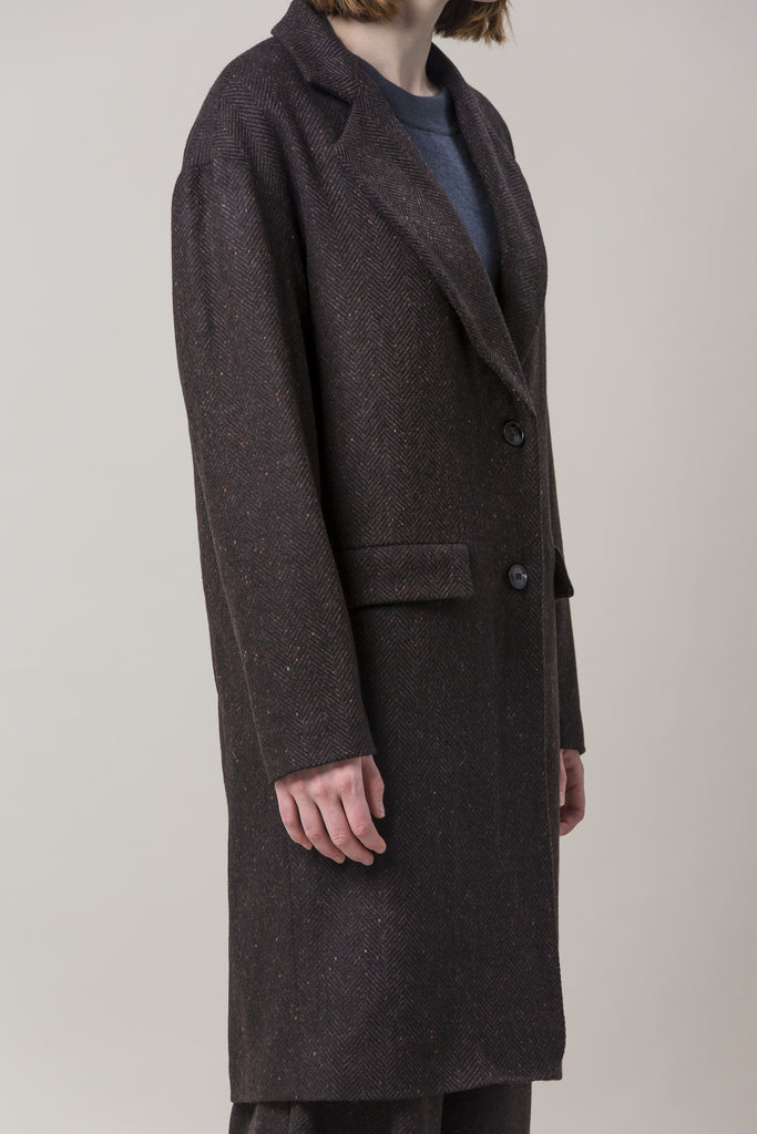 Long Oversized Coat, Brown by Dusan @ Kick Pleat - 7