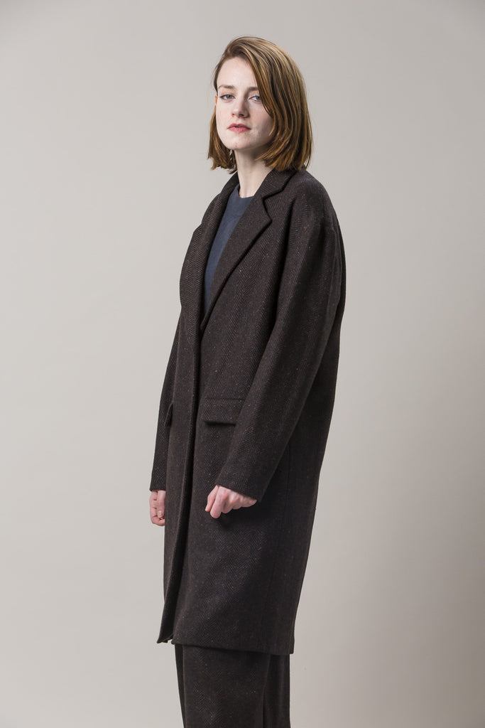 Long Oversized Coat, Brown by Dusan @ Kick Pleat - 4