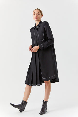Pleated Shirt Dress, Black