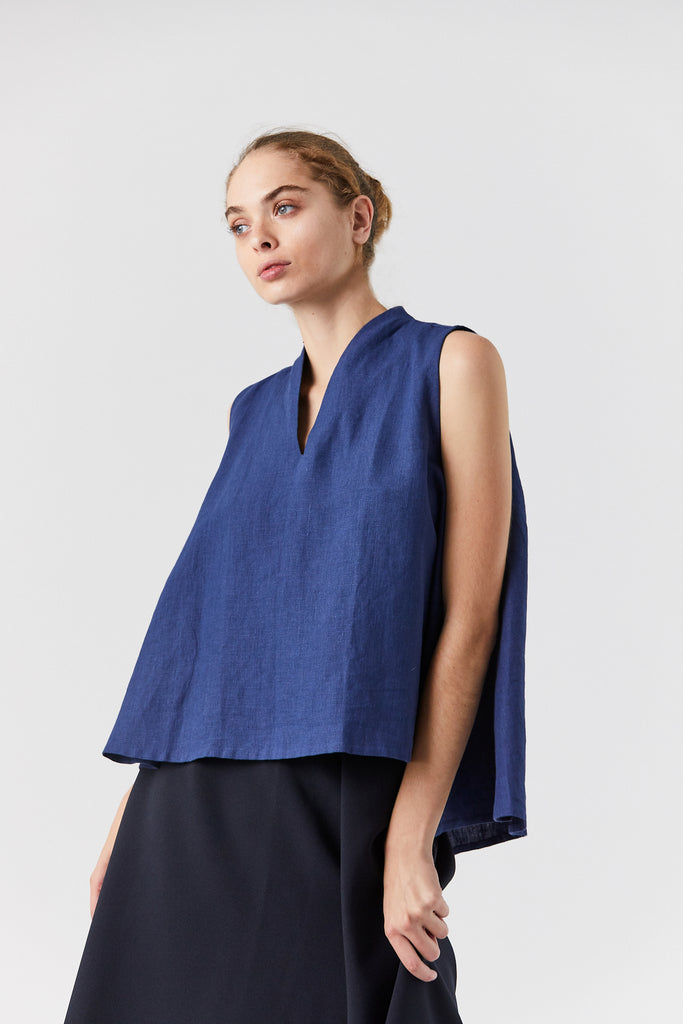 Rong Sleeveless Split Neck Top, Salt Blue