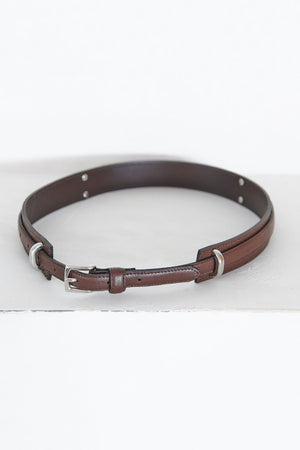 TIBI - double layer leather belt, dark brown