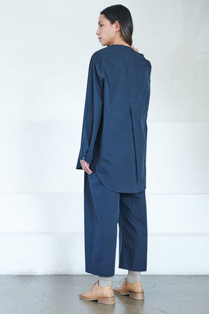 Studio Nicholson - oyodo collarless shirt, dark navy