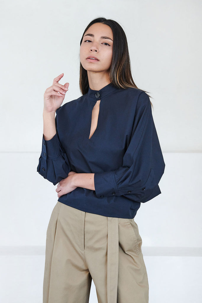 proenza schouler - cotton long sleeve blouse, navy