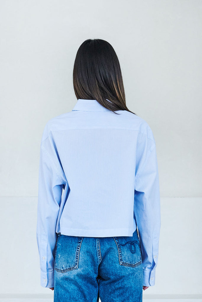 R13 - oversized crop button up shirt, blue steel