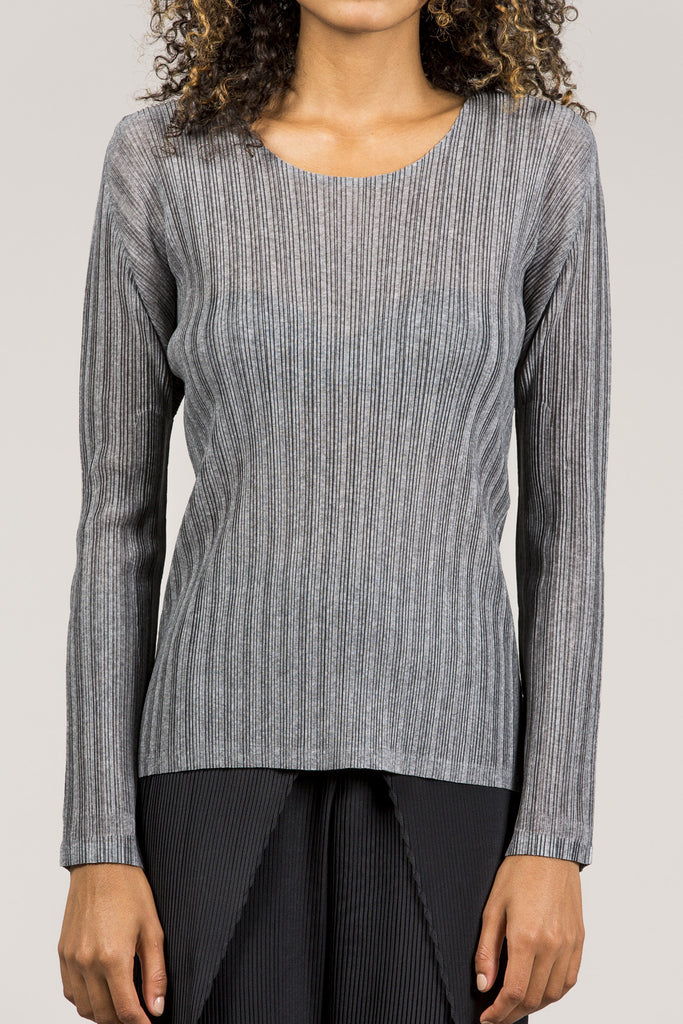 Long Sleeve Tee, Heather Grey by Pleats Please by Issey Miyake @ Kick Pleat - 3