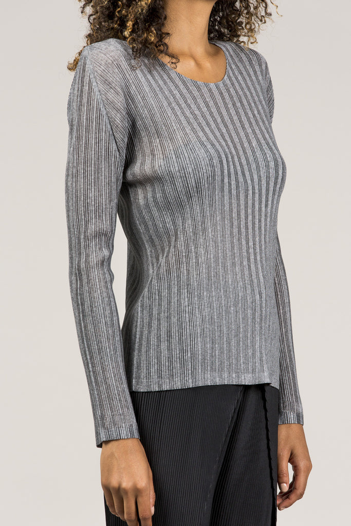 Long Sleeve Tee, Heather Grey by Pleats Please by Issey Miyake @ Kick Pleat - 5