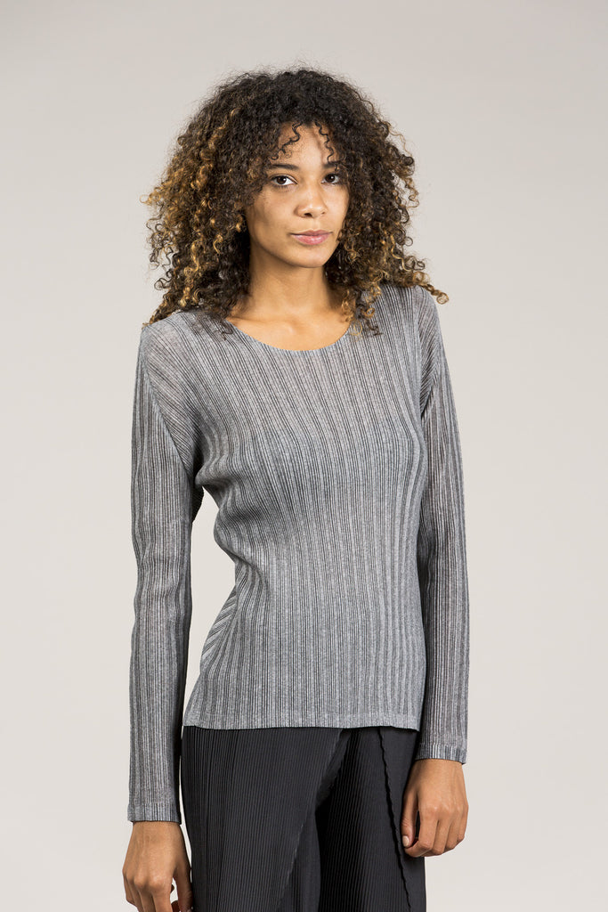 Long Sleeve Tee, Heather Grey by Pleats Please by Issey Miyake @ Kick Pleat - 2