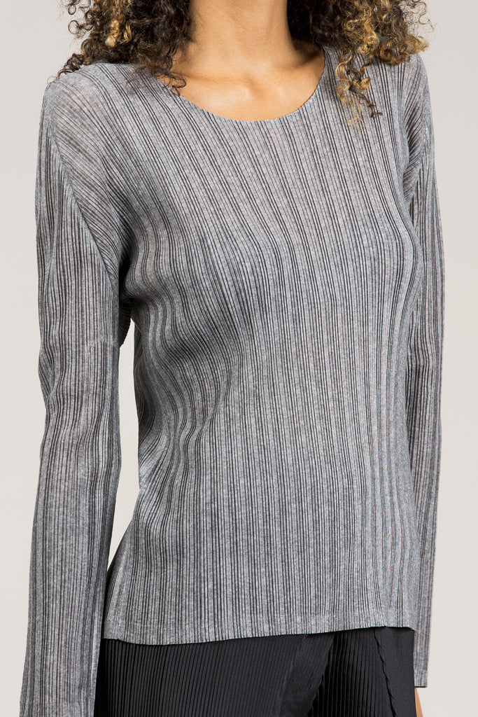 Long Sleeve Tee, Heather Grey by Pleats Please by Issey Miyake @ Kick Pleat - 4