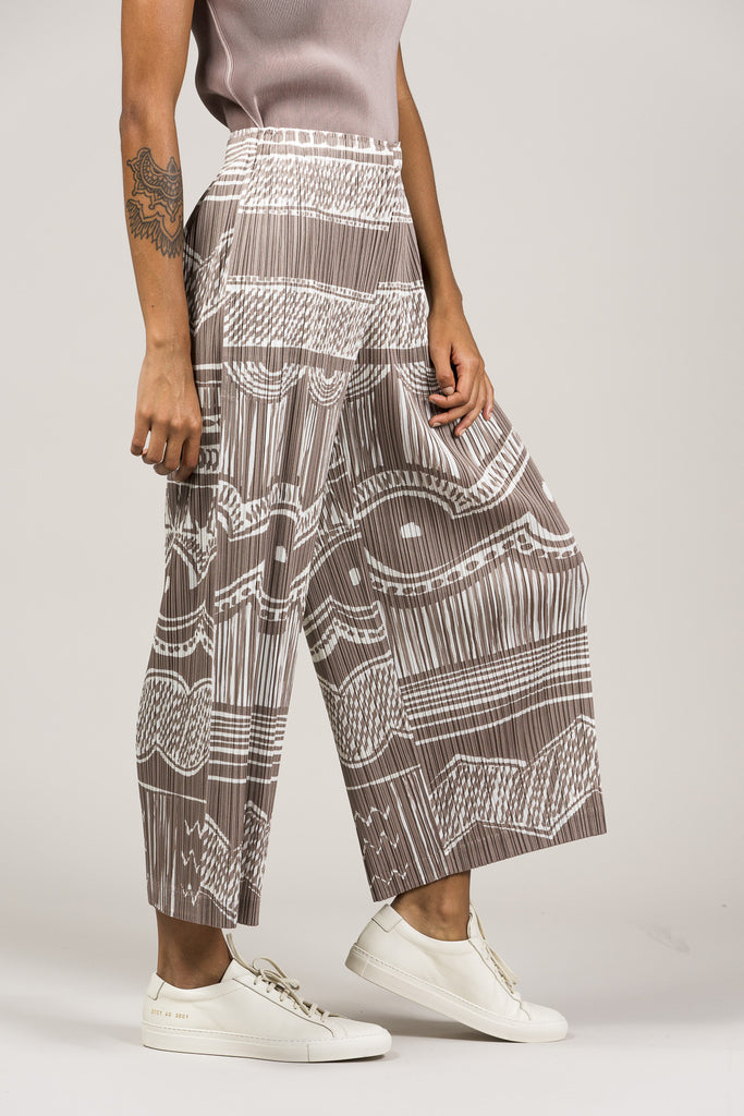 Printed Pleated Pants by Pleats Please by Issey Miyake @ Kick Pleat - 6