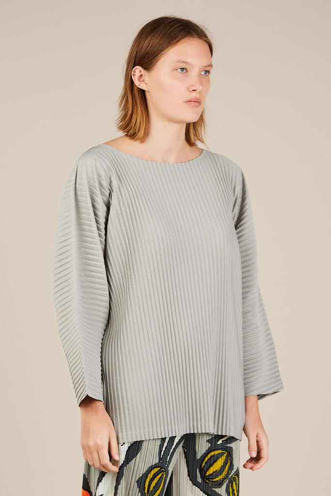 Checker L/S Top - Grey - Pleats Please by Issey Miyake