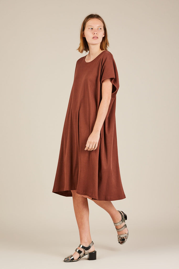 Ribbed T-Shirt Dress, Marsala