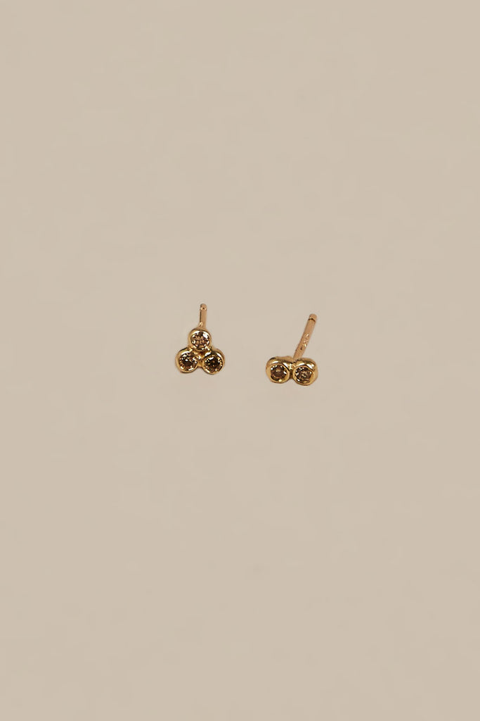 Asymmetrical Seed Studs, Yellow Gold/Champagne Diamonds by Blanca Monros Gomez