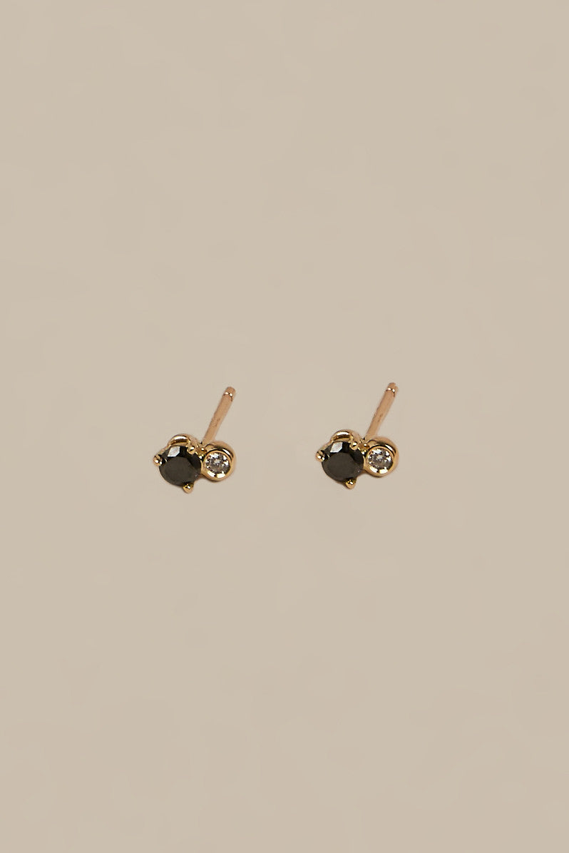 Duo Stud Earrings, Black Diamond/White Diamond - Blanca Monrós Gómez