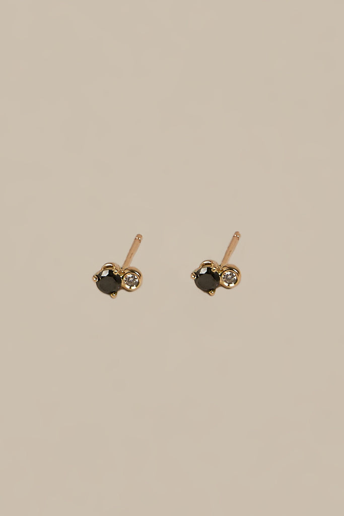 Duo Stud Earrings, Black Diamond/White Diamond