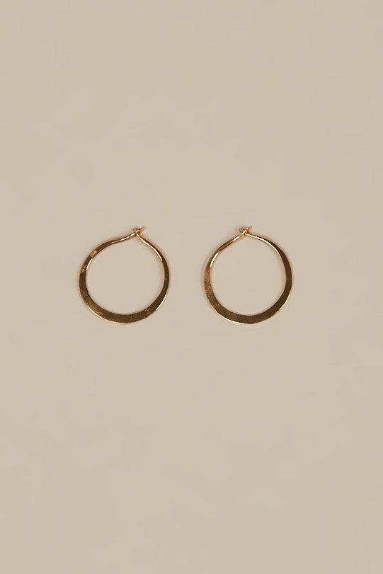 Mini Hammered Hoops, Yellow Gold