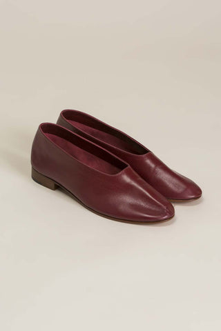 Leather Glove Flats, Burgundy