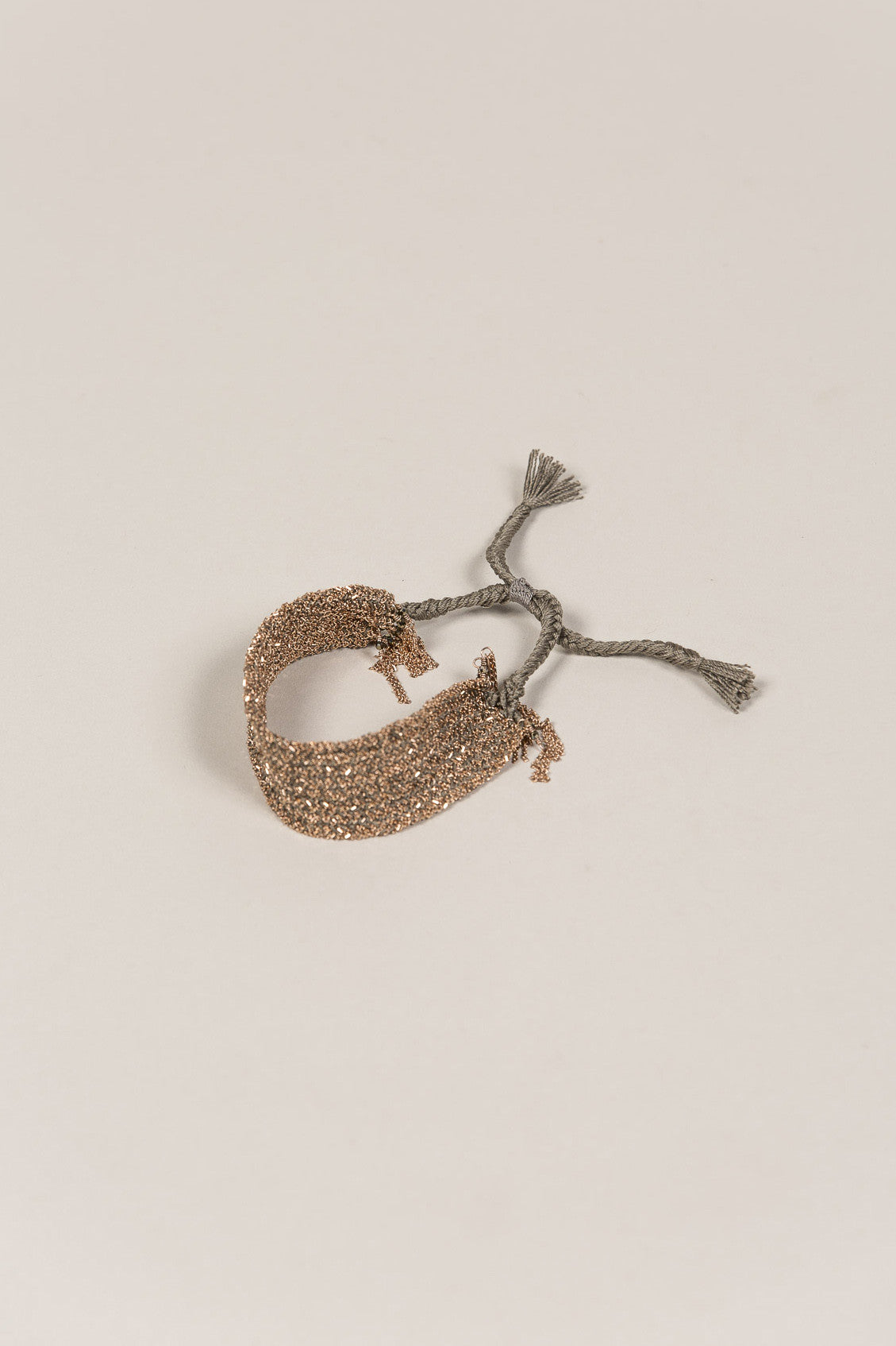 Embroidered Tie Bracelet, Pink Gold Grey by Marie Laure Chamorel @ Kick Pleat - 1