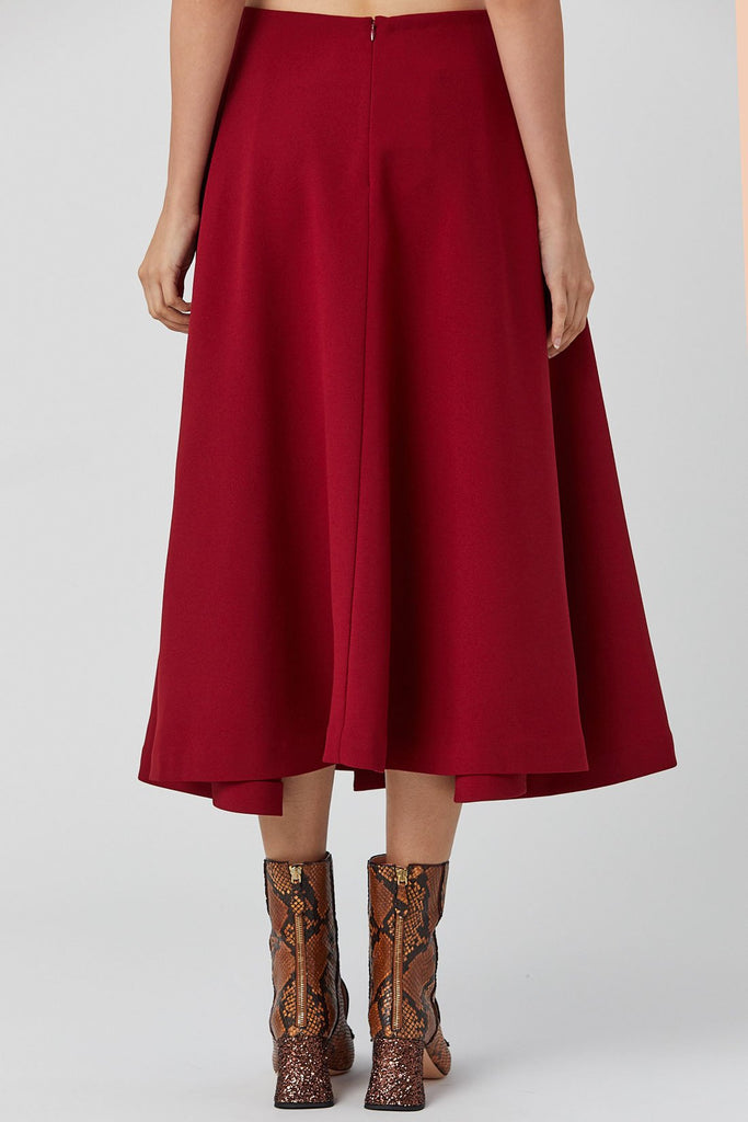 Kaarem - Canina Diagonal Pleated Midi Skirt, Crimson Red