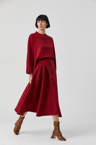 Canina Diagonal Pleated Midi Skirt, Crimson Red