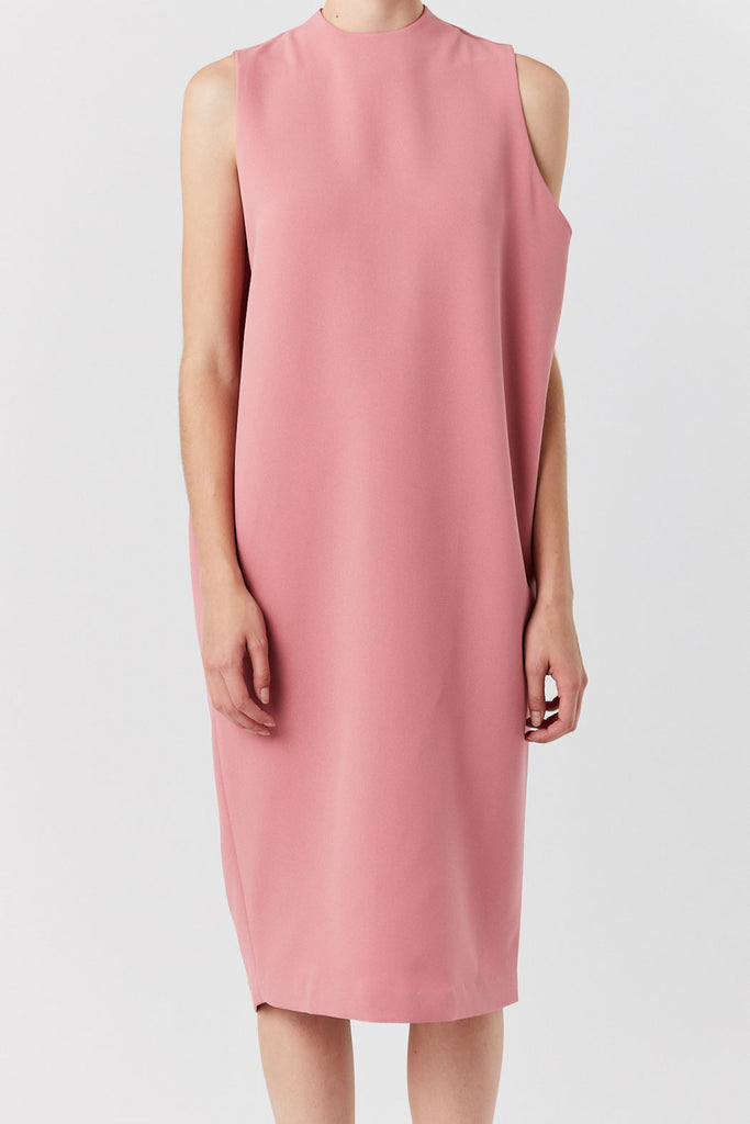 KAAREM - Dill High Collar Dress, Sun Pink