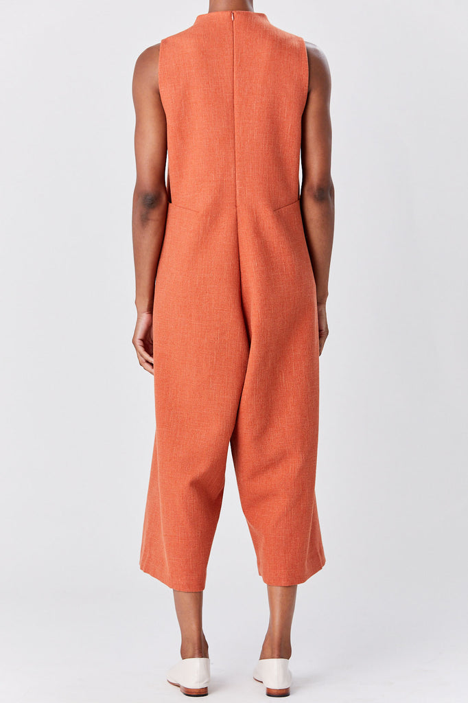 KAAREM - Lanh High Collar Onesie, Orange
