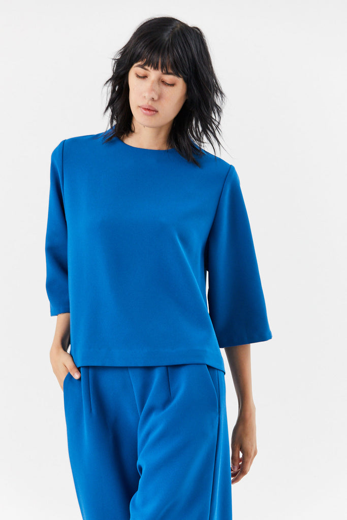 Marya High Collar Top, Blue