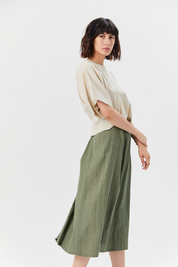 Kaarem - Patches Midi Skirt, Seaweed