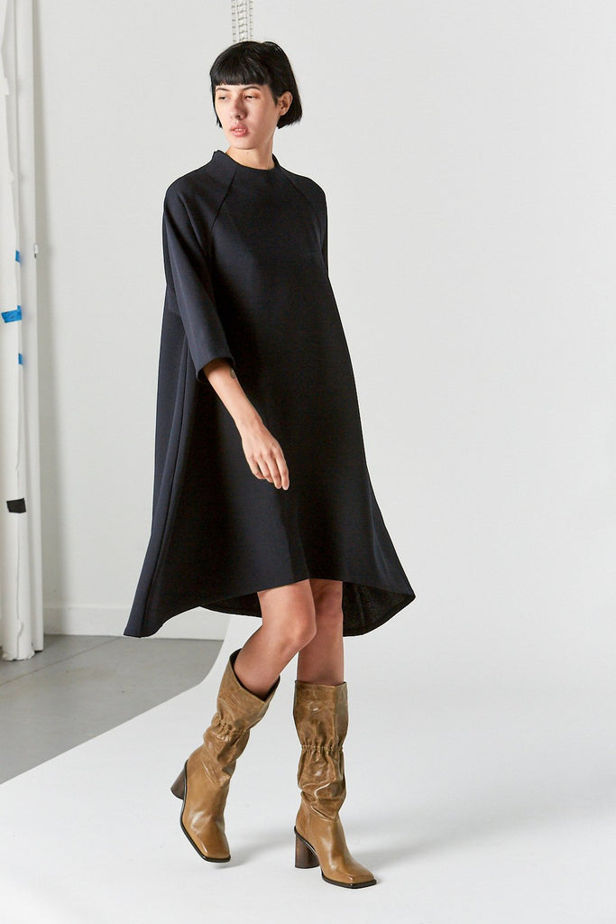 Sim Long Sleeve Raglan Dress, Black Blue
