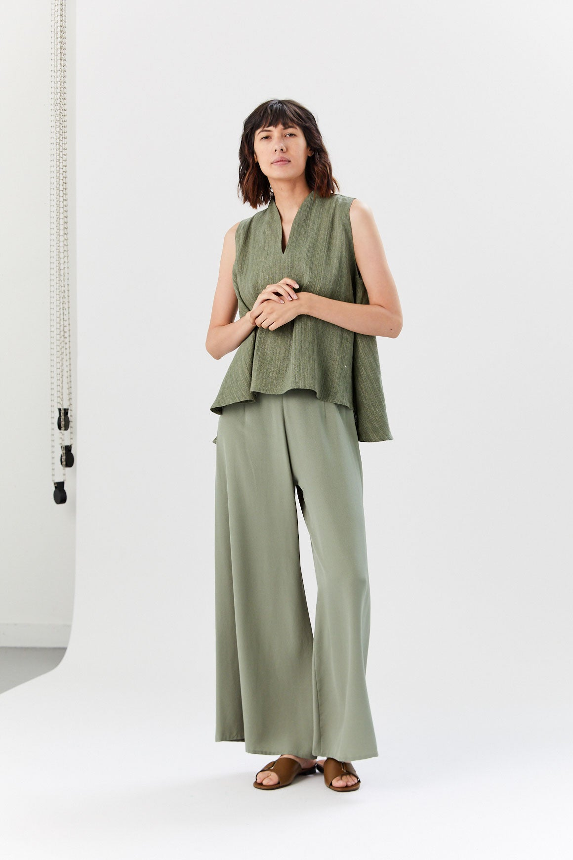 Kaarem - Song Tu Wide Leg Silk Pants, Moss Green
