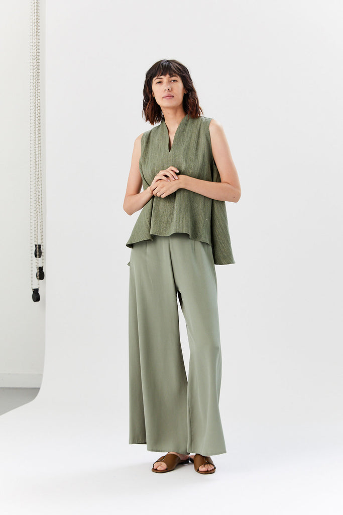 Song Tu Wide Leg Silk Pants, Moss Green