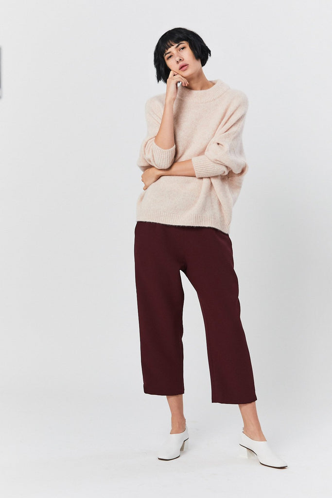 Sua Tapered Trouser Pocket Pant, Burgundy