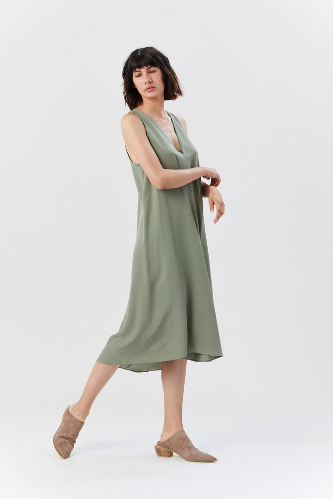 Kaarem - Sum Sleeveless V-Neck Dress, Moss