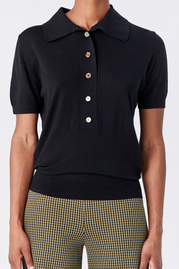 KHAITE - Enzo Polo Sweater, Black