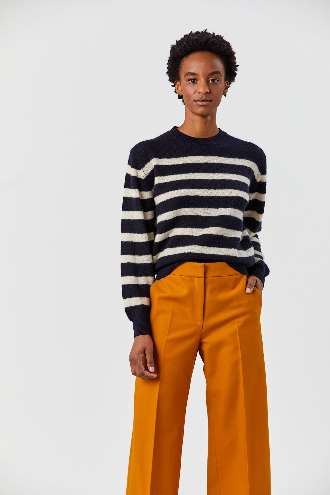 Khaite - Viola Sweater, Navy and Bone Stripe
