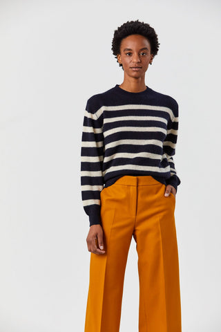 Viola Sweater, Navy and Bone Stripe