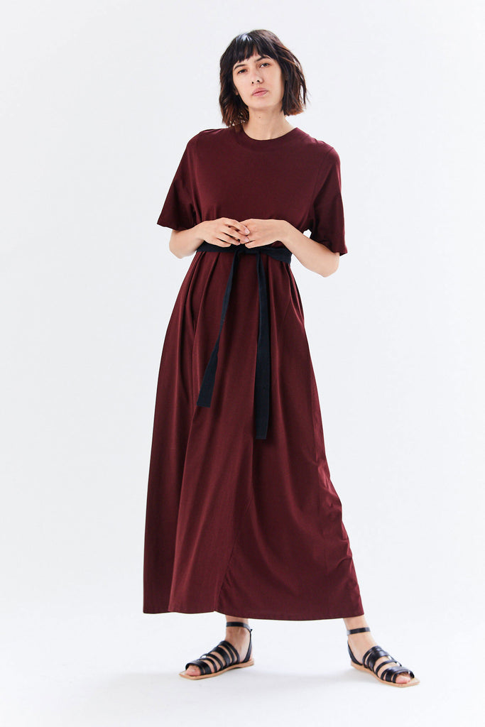 Tee Shirt Swing Dress, Wine