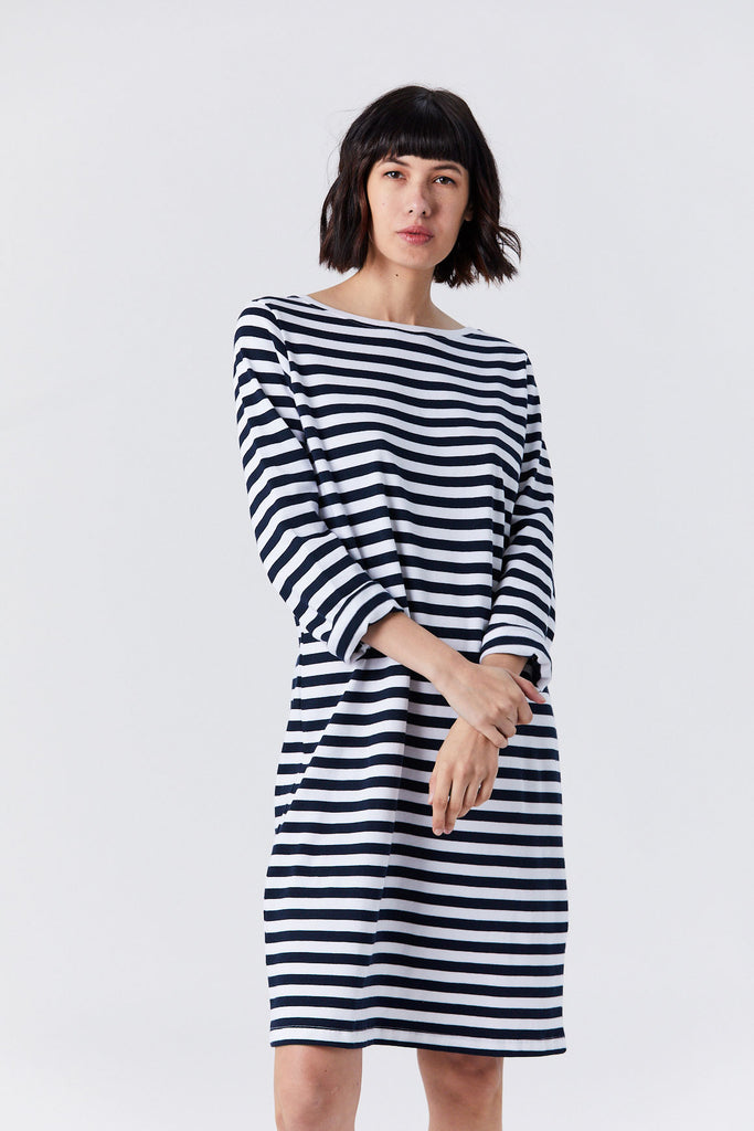 Kowtow - Breton Dress, Navy & White