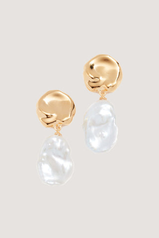 Coin Reflection Earrings, Gold & Pearl