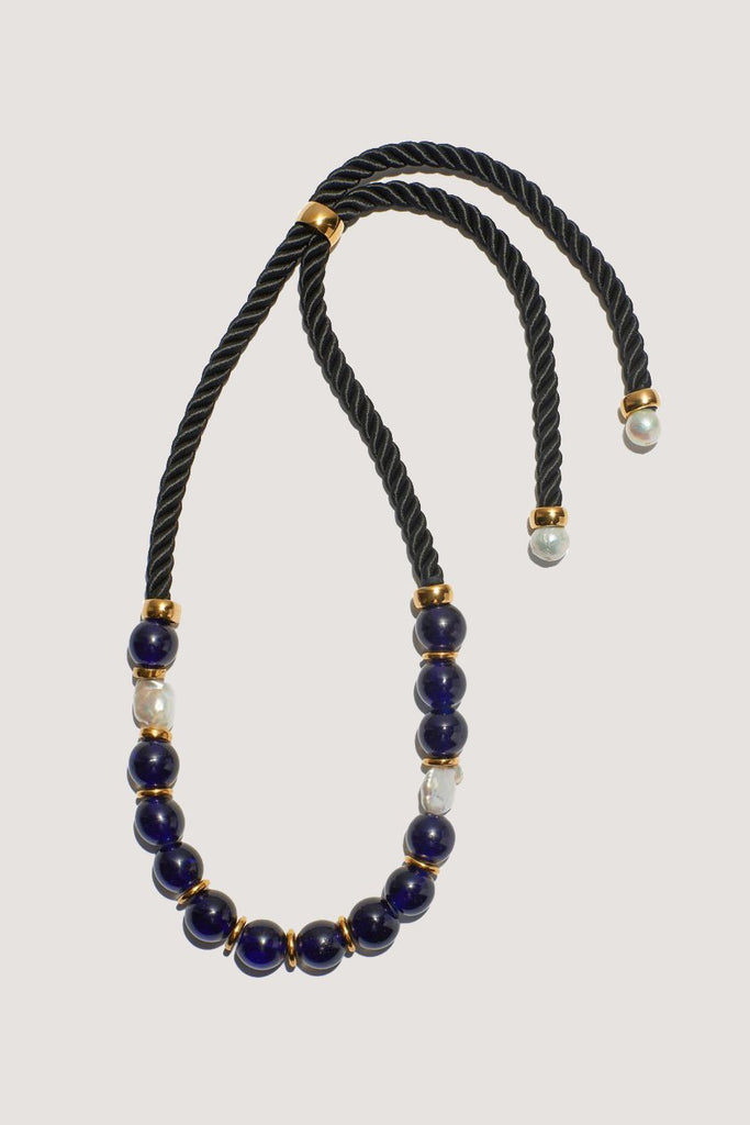 Ripley Necklace, Cobalt & Pearl