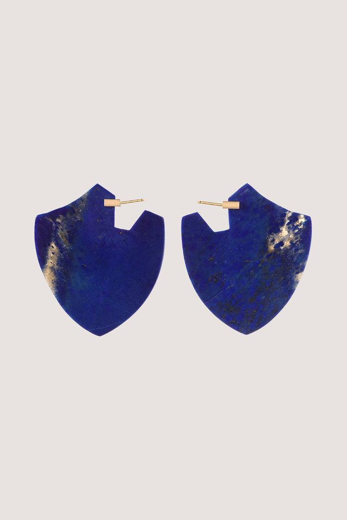 Clark Heldman - Shield Earrings, Lapis and Gold