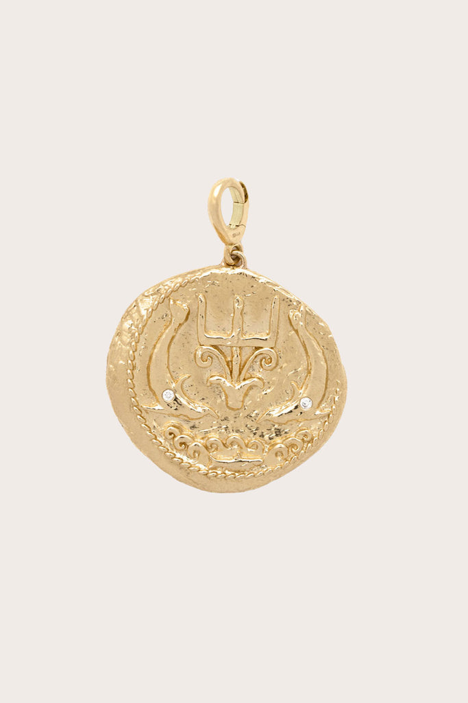 Of The Sea Large Diamond Coin Charm, Gold