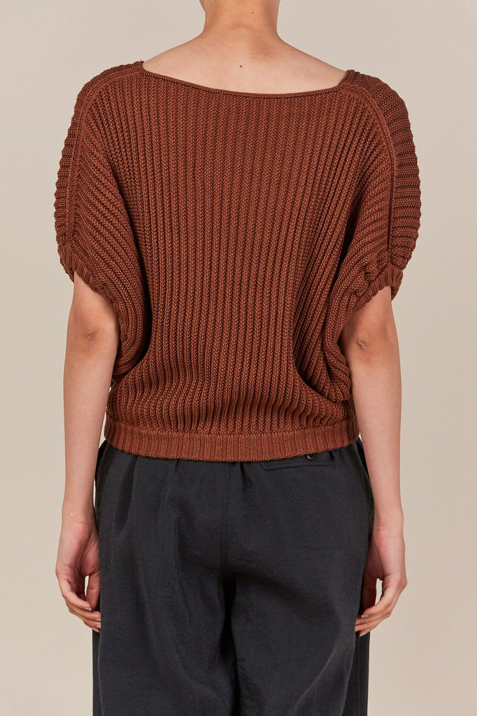 ribbed short sleeve sweater