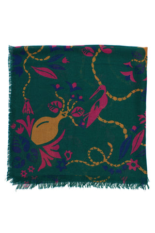 bird and vases scarf, DaRK GREEN