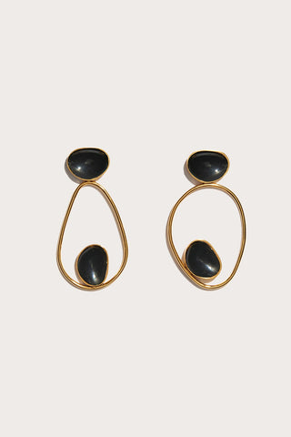 echos earrings, BLACK