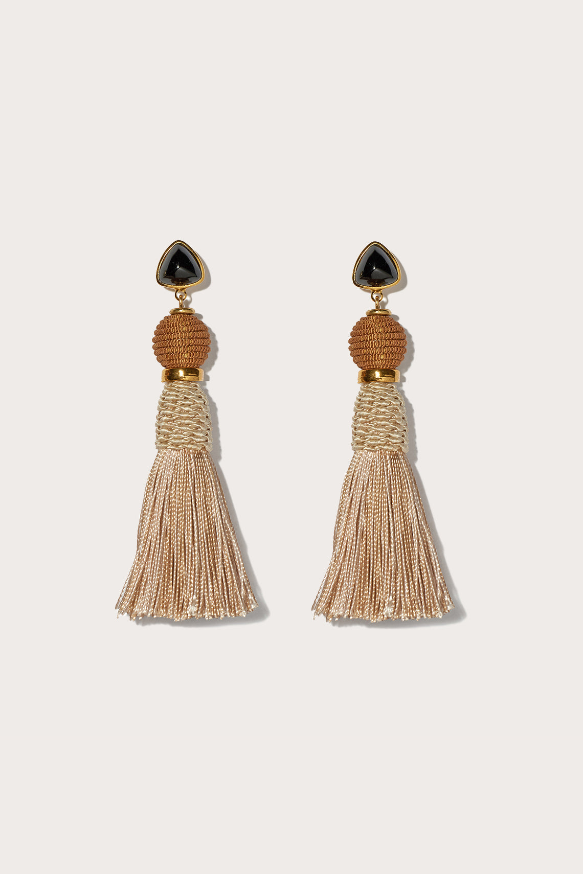 modern craft earrings, TAN