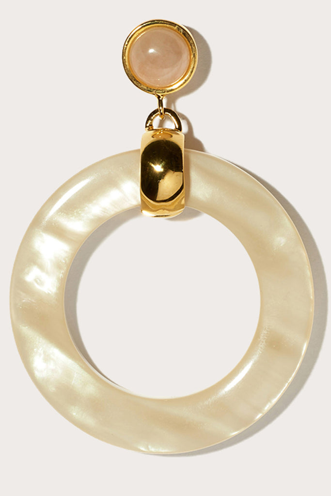 sun bleached hoops, faux pearl
